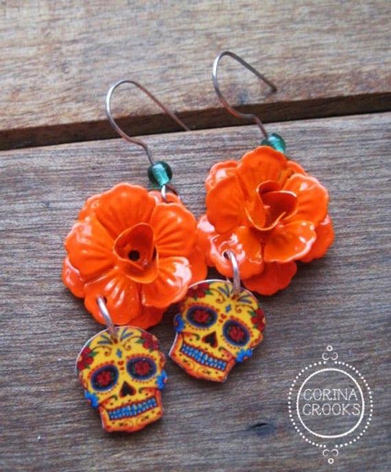 dia de los muertos jewelry day of the dead earrings orange