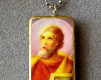St. Thomas the Apostle Catholic Recycled Domino Pendant Necklace Patron Against Doubt TA2