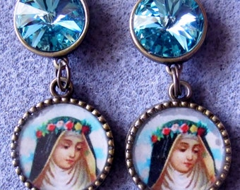 St. Rose of Lima Catholic Handmade Bronze Aquamarine Blue Swarovski Crystal Earrings