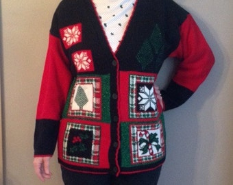 Ugly Christmas Holiday Sweater Button-Down Women's