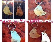 Custom State or Country Long Distance Love Keychains