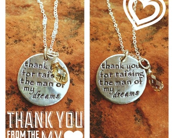 Hand Stamped Sterling Silver Bridal Wedding Engagement Morher in Law Gift Necklace