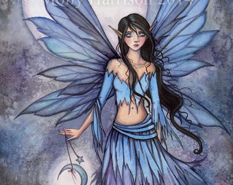 Moon Fairy - Lunetta - Little Moon - Fantasy Fine Art Giclee Print 9 x 12 by Molly Harrison