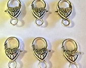 Heart Lobster Clasp - 25 pc. - Lobster Clasp - Snap hook - Heart Clasp - Silver Heart Clasp - Large Lobster Clasp