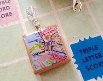 Scrabble Oakland Map Pendant Necklace - Vintage Scrabble Charm  - Vintage Map charm - zipper pull - Scrabble Tile - with chain
