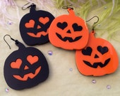 Pumpkin Jack O Lantern Acrylic Earrings in ORANGE or BLACK