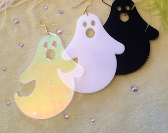Ghost Acrylic Earrings in Black, White or Radiant