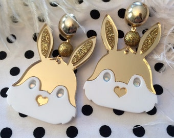 Gold and White Bunny Head Mirror Acrylic Earrings