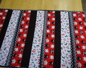 Red, black and white Ninja baby or toddler quilt
