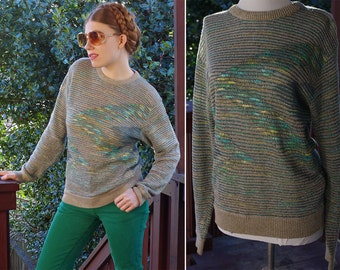 SURFS Up 1970's 80's Vintage Men's Loose Knit Teal Blue Green + Grey Sweater with Long Sleeves // size Small Med // by GIM