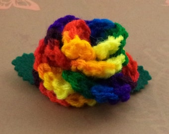 Crocheted Rose Hair Barrette - Rainbow (SWG-HB-RB02)