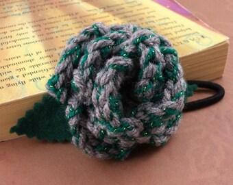 Crocheted Rose Ponytail Holder or Bracelet - Gray with Green Sparkles (SWG-HP-HWSL02)