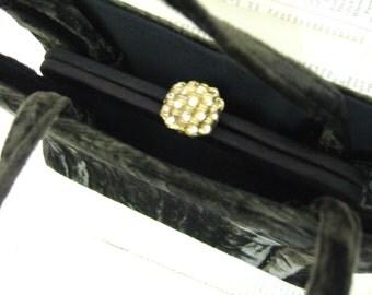 SaLe Beautiful VINTAGE Crushed brown VELVET handbag