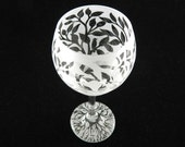 Tree of Life Wine Glass - Teardrop Style - Frosted Glassware - Wedding and Anniversary Toasting Glasses