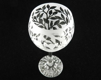 Tree of Life Wine Glass - Frosted Teardrop Style - Etched Glassware - Custom Made to Order