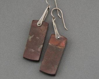 Pinned Red Creek Jasper Earrings style 8