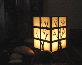 Japanese Shoji Lantern, Candle Holder, Home Decor, Four Seasons, Trees, Stained Glass, Hand Painted, Winter Spring Summer Fall Candle Holder
