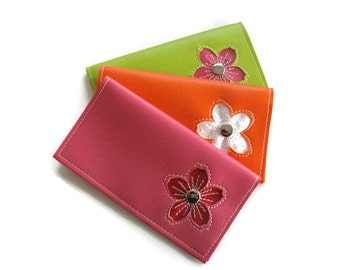 Duplicate Checkbook Cover with Cherry Blossom Flower in CUSTOM Colors by Tender Roni *Choose Your Own Colors* Available for Top or Left Tear