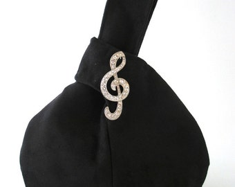 Black wristlet bag with music note  broche, evening handbag , party  purse, clutch, bridesmaid purse, vegan ultrasuede