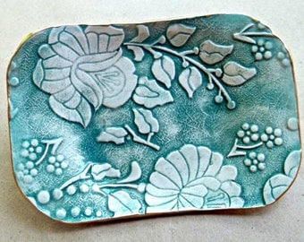 Teal Damask Trinket  Dish