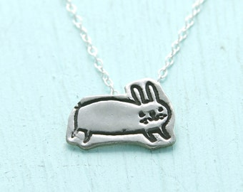 BUNNY necklace,  illustrated by Gemma Correll, eco-friendly silver. Handcrafted by Chocolate and Steel