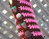 Fingerless Gloves Hand Warmers Texting Mitts Chocolate Raspberry with Cupcake Buttons FREE Shipping in USA