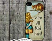 We're All Mad Here Phone Case Alice in Wonderland Phone Case for  iPhone 4 4s 5 5s 5c SE 6 6s 7  6 6s 7 Plus Galaxy s4 s5 s6 s7 Edge