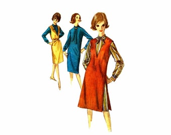 1960s Womens Shift Dress and Jumper Simplicity 5593 Vintage Sewing Pattern Round Neckline Tie Collar V Neckline Misses Size 14 Bust 34