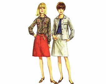 1960s Shirt Hip Hugger Skirt Simplicity 6639 Vintage Sewing Pattern Size 14 Bust 34