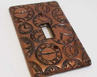It Is Time: clocks in antique bronze single toggle light switch cover