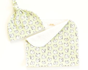 SALE | Burping Bears Organic Cotton Baby Hat and/or Burp Cloth | Original Fabric Design