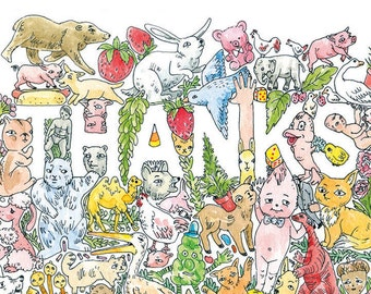 Thanks Greeting Card   Cute and Humorous Illustration by Marie Gardeski