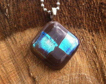 Brown Fused Glass Pendant With Blue Dichroic Glass