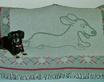 Dachshund Wahoo Wiener Woven Tapestry Afghan Throw Blanket