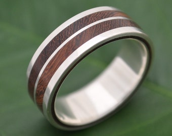 Lados-Linea Nacascolo Wood Ring - ecofriendly wood and recycled sterling silver wedding ring