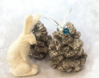 Wool Felt Pinecone Ornament, Beaded ChristmasTree Ornament, Holiday Decor Bowl Filler, white, grey, blue, Upcycled wool, rustic, shabby chic