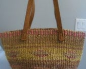 Vintage boho woven and leather striped handbag spring