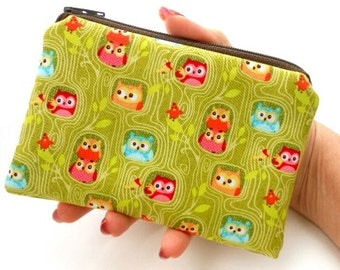 Owls Little Zipper Pouch Coin purse ECO Friendly Padded  Green Hideout Owls