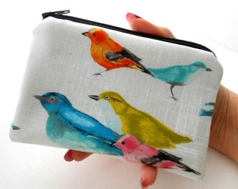 Little Zipper Pouch ECO Friendly Padded Coin Purse Elegant Flutter Birds