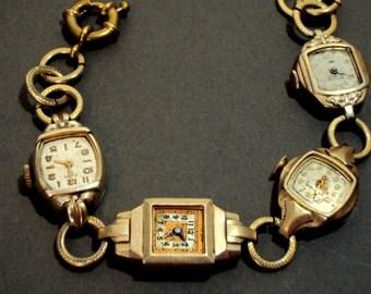 ArT DEcO Antique Watch Face Charm Bracelet Gold Fill