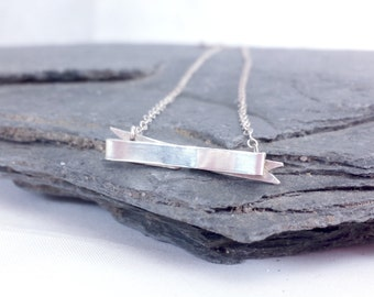 Sweetly Sensual Banner Necklace // Delicate Sterling Silver Jewelry // Gift for HER under 50
