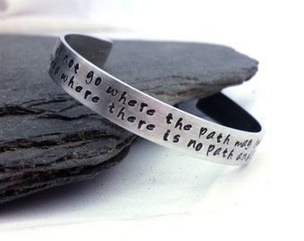 Quote Bracelet // Inspirational Gift // Wide Silver Cuff Bracelet // Ralph Waldo Emerson