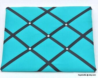 BlueTeal Memory Board French Memo Board, Fabric Ribbon Memo Bulletin Board, Ribbon Pin Board, Fabric Message Board, Bedroom Decor