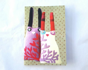 A6 Small Notebook - Digital Image of Textile Art Rabbit Dolls Journal with Spotty Dotty Background