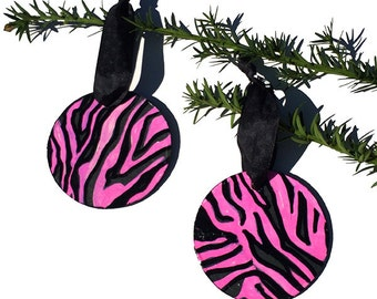Pink Zebra Ornaments - Pair of Handmade Wood Ornaments for Christmas tree, one of kind pink and black holiday decor, xmas holiday decoration