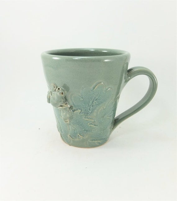 spring green mug with frog and leaves