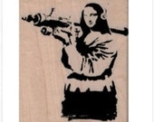 Rubber stamp Banksy Mona Lisa with gun bazooka  stamping graffiti outsider art apocalypse zombie  craft supplies number 19485
