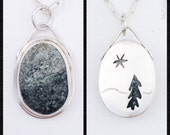 Green and White Speckled Beach Stone Pendant - Artisan Handcrafted with Tree Cutout on Reverse - Nature Lover Gift