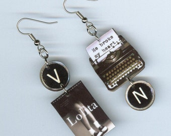Book Cover Earrings - Lolita Vladimir Nabokov -  Typewriter key jewelry - mismatched asymmetrical - readers book club librarian bookish gift