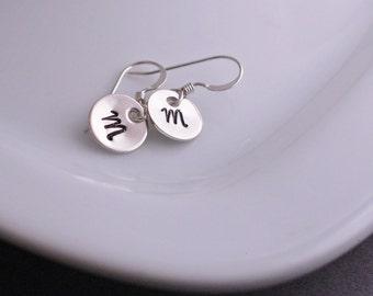 Initial Earrings, Personalized Letter Earrings in Sterling Silver, Jewelry Christmas Gift